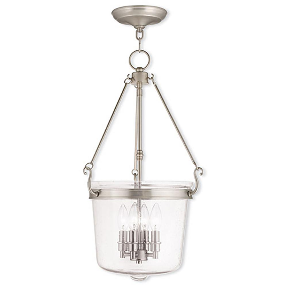 Livex Lighting Sheffield 4-Light Brushed Nickel Pendant  sc 1 st  Home Depot & Livex Lighting Sheffield 4-Light Brushed Nickel Pendant-50496-91 ...