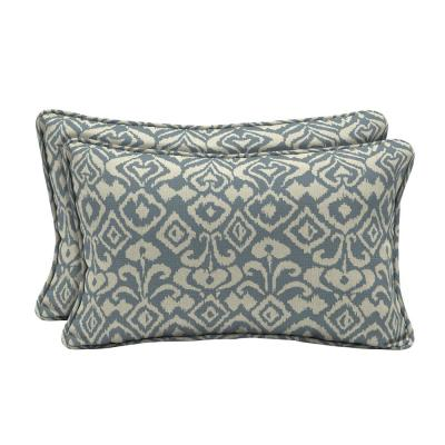Sunbrella Spades Denim Lumbar Outdoor Throw Pillow (2-Pack)