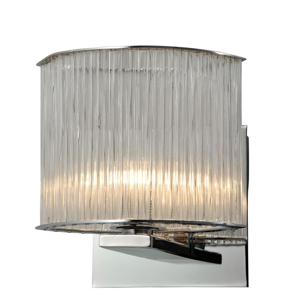 Alternating Current Array 1-Light Polished Chrome Oval Bath Vanity Light with Faceted Glass Rods