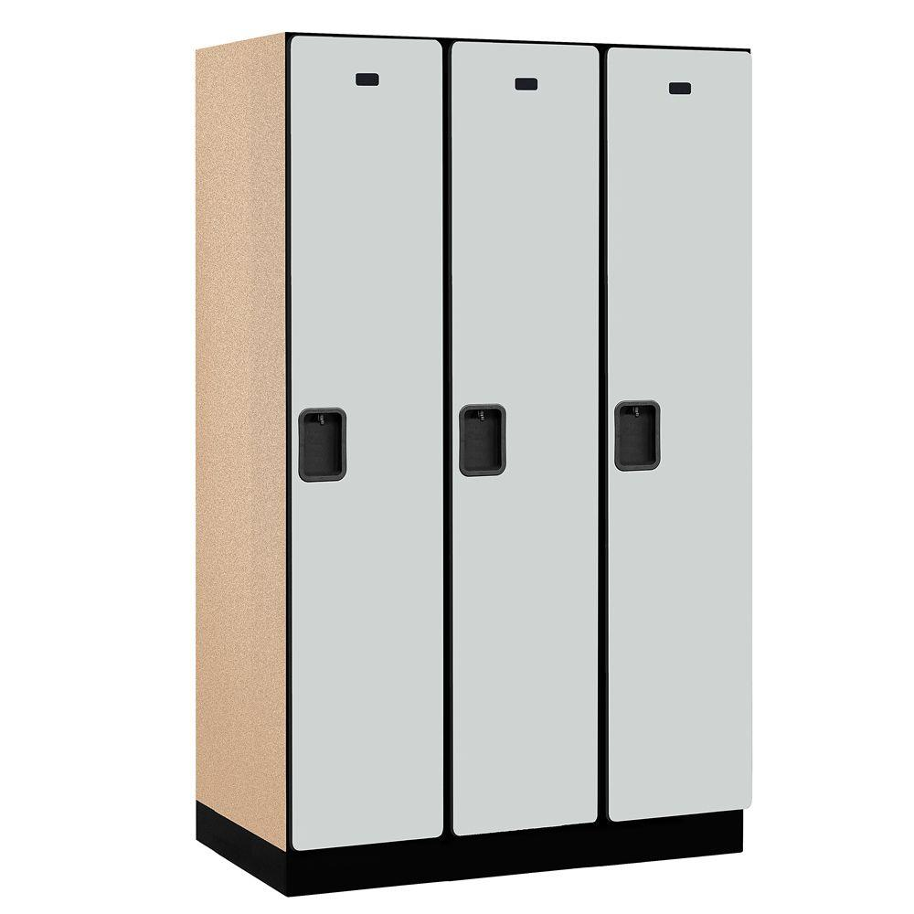 Salsbury Industries 21000 Series 1-Tier Wood Extra Wide Designer Locker in Gray - 15 in. W x 76 in. H x 21 in. D (Set of 3)