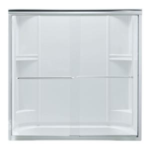 Sterling Finesse 59-5/8 inch x 55-3/4 inch Frameless Sliding Tub Door in Silver with Handle by STERLING