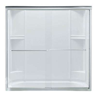 Finesse 59-5/8 in. x 55-3/4 in. Frameless Sliding Tub Door in Silver with Handle
