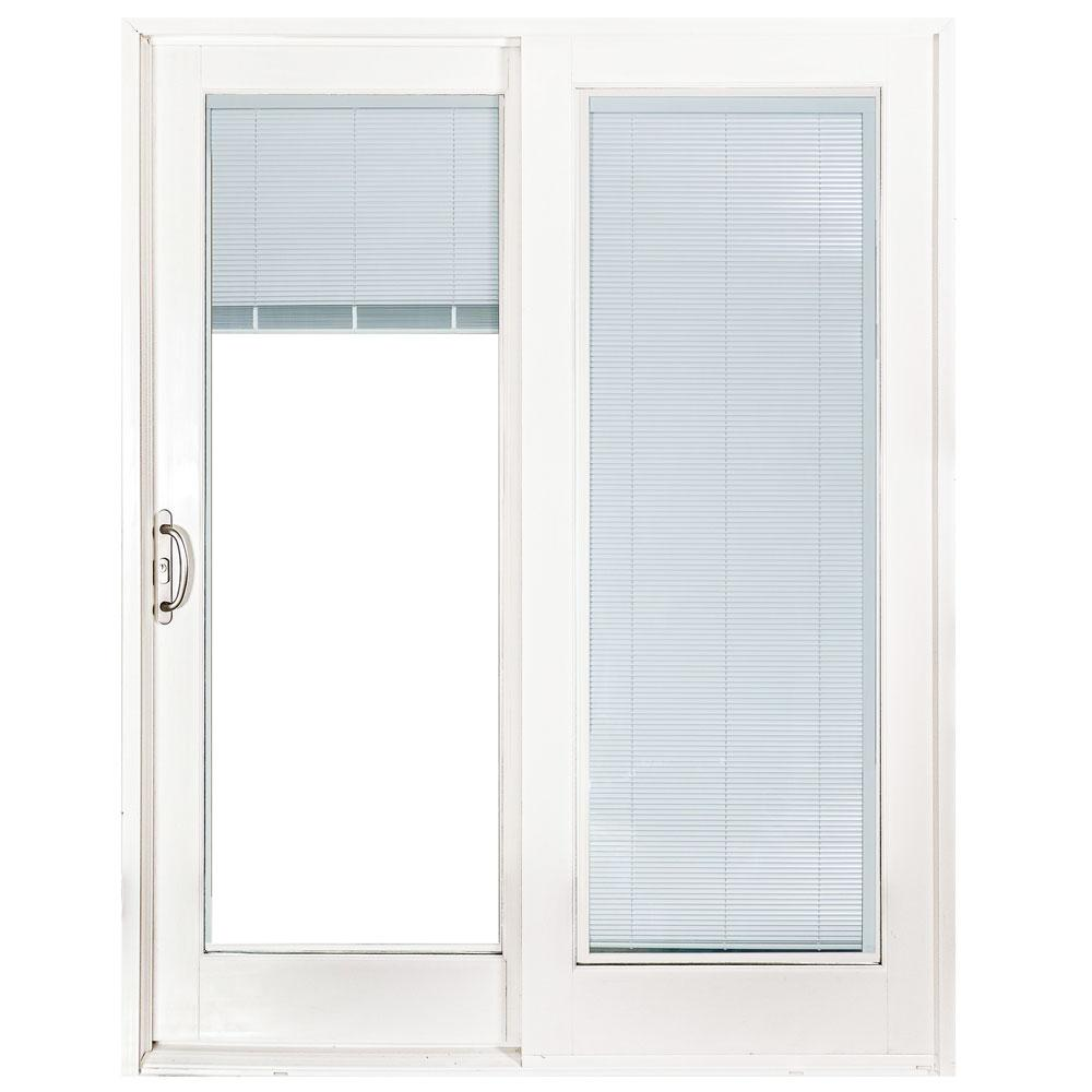 Mp Doors 60 In X 80 Smooth White Left Hand Composite Sliding Patio Door With Built Blinds