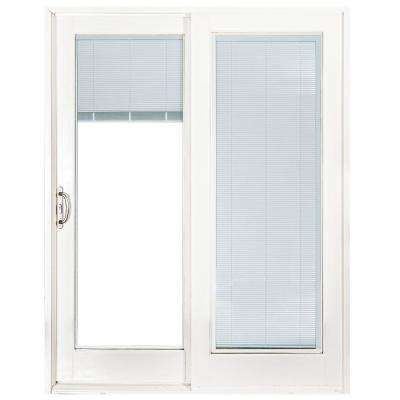 60 In X 80 Smooth White Left Hand Composite Sliding Patio Door With Built Blinds