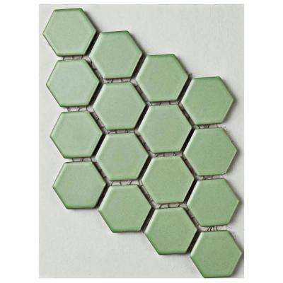 Metro Hex Matte Light Green Porcelain Mosaic Tile 3 In X 4