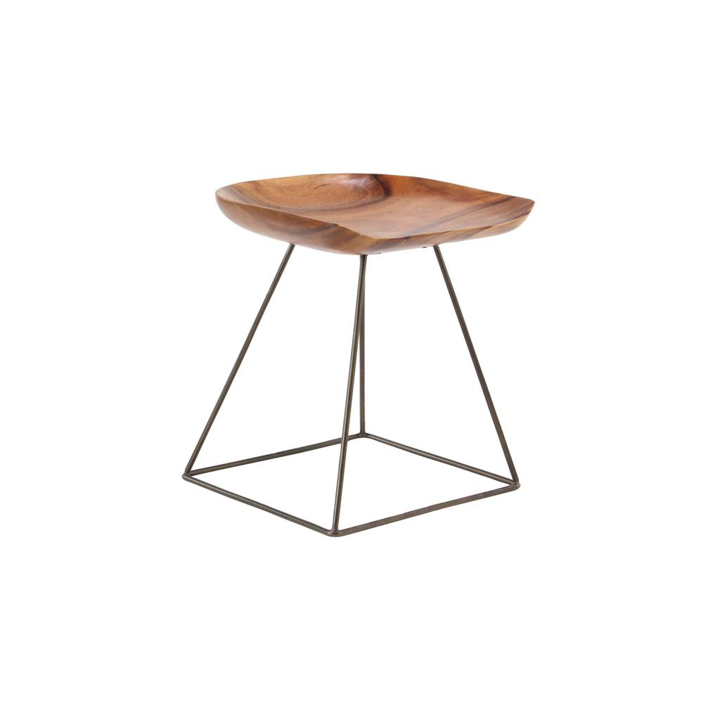 20 in. Brown Wood and Metal Bar Stool