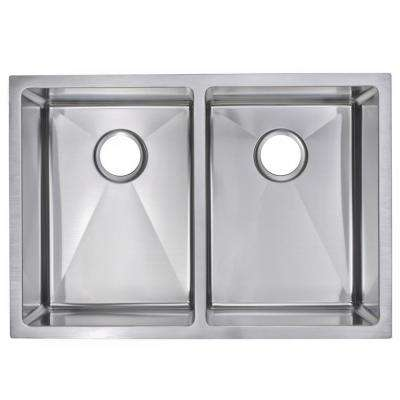 Undermount Stainless Steel 29 in. Double Bowl Kitchen Sink with Strainer and Grid in Satin