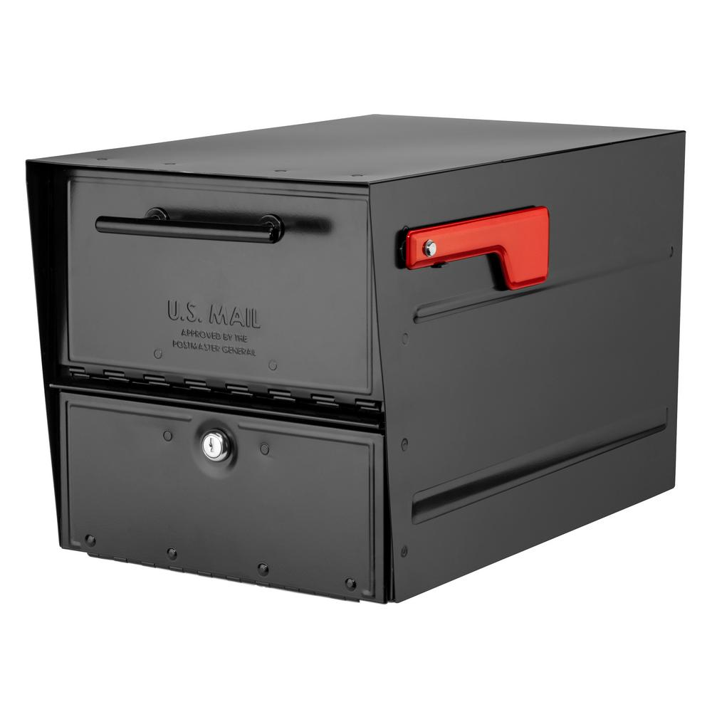 Architectural Mailboxes Oasis Eclipse Black Post Mount Locking Parcel Mailbox with Red Flag