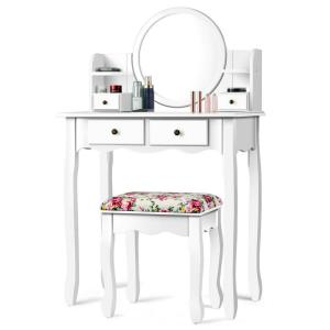 White Vanity Table With Drawers.4 Drawer White Vanity Table Set Cushioned Seat Dressing Furniture W Oval Mirror