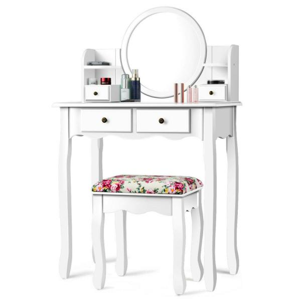 Costway 4 Drawer White Vanity Table Set, Mirrored Dressing Table Set Next