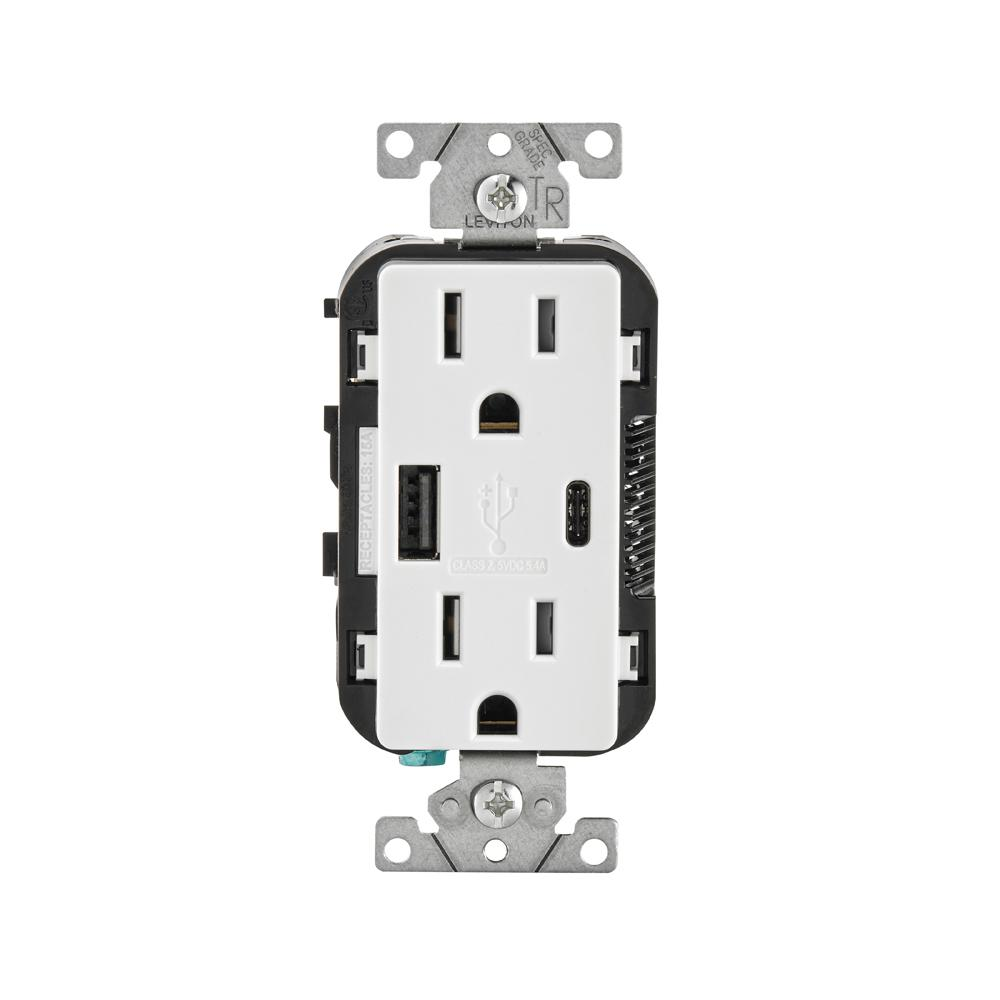 LEVITON 15 Amp Type A and C USB Charger Tamper-Resistant Outlet, White