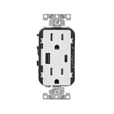 Fantastic 15 Amp Decora Type A And C Usb Charger Tamper Resistant Outlet White Wiring Database Gramgelartorg