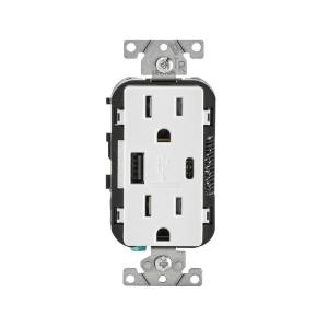 Leviton 15 Amp Type A and C USB Charger Tamper-Resistant Outlet, White by Leviton