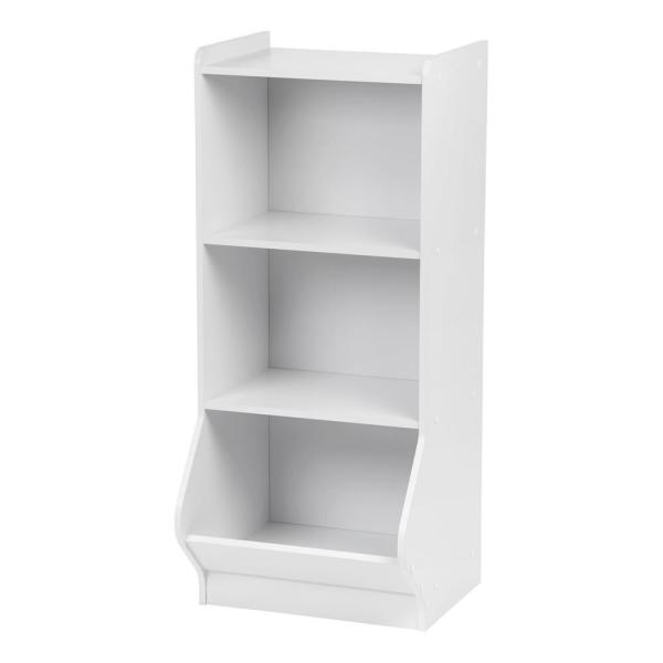 White 3-Tier Storage Organizer Shelf with Footboard