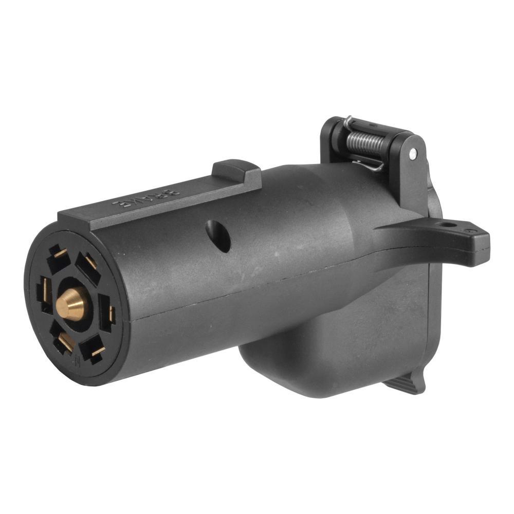 Curt Adapter With Alarm  7-way Rv Blade To 6-way Round Trailer  Center Pin Brake -57720