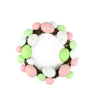 Grapevine 10 in. Pastel Pink, Green and White Floral Stem Easter Egg Spring Wreath