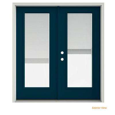 72 in. x 80 in. Revival Blue Painted Steel Right-Hand Inswing Full Lite Glass Stationary/Active Patio Door w/Blinds