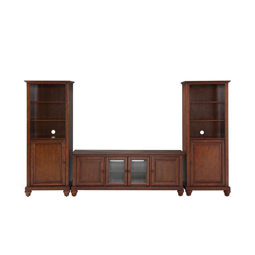 Crosley Cambridge Low Profile TV Stand and 2-Audio Piers in Mahogany