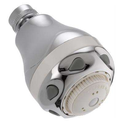 3-Spray 2-11/16 in. Water Efficient Fixed Shower Head in White/Chrome