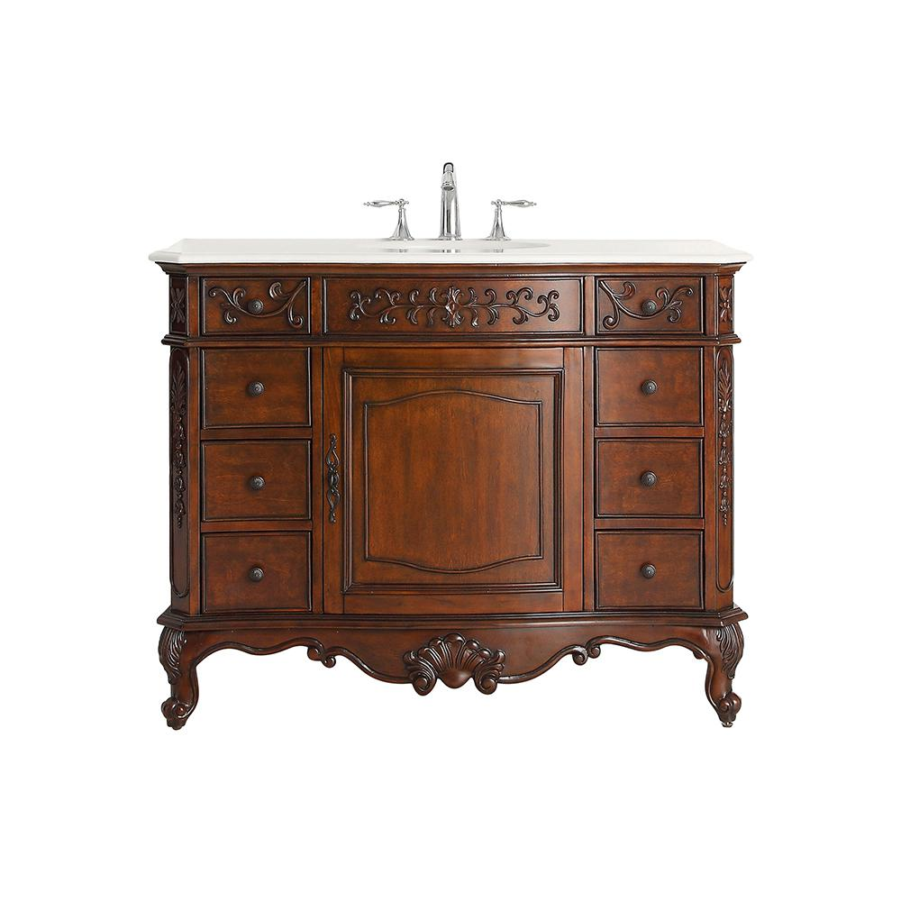 Home Decorators Collection Winslow 45 in. W x 22 in. D Vanity in Antique Cherry with Marble Vanity Top in White with White Sink