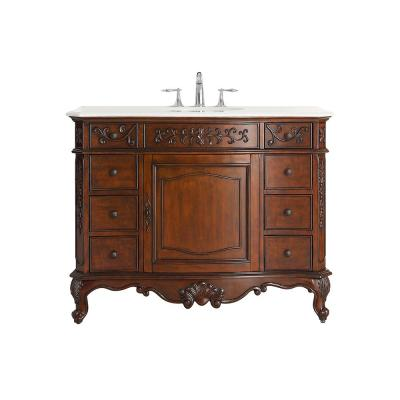 Winslow 45 in. W x 22 in. D Vanity in Antique Cherry with Marble Vanity Top in White with White Sink
