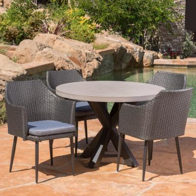 Nyla Grey and White 5-Piece Polyethylene Wicker Outdoor Dining Set with Black Cushions