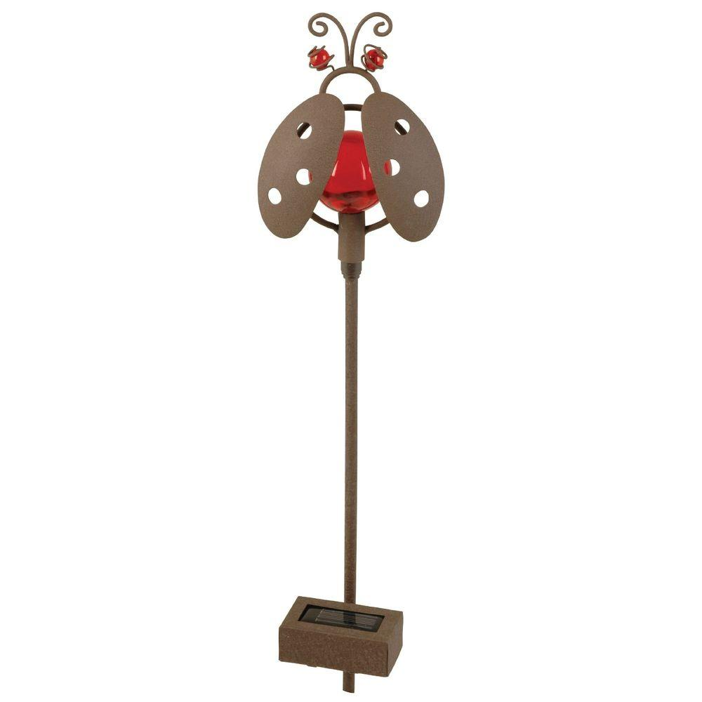 Moonrays Outdoor Bronze Solar Powered LED Petite Red Moving Ladybug Planter Light-DISCONTINUED