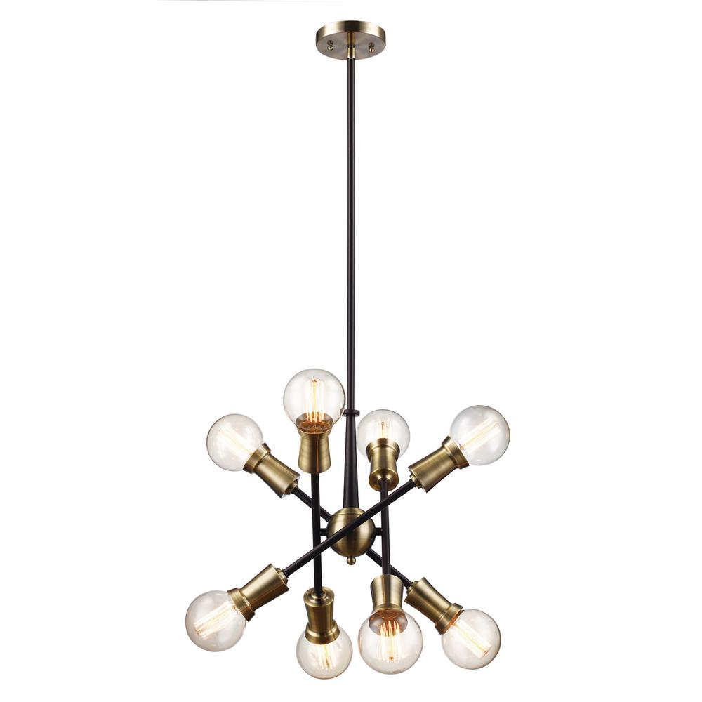 Zody 8-Light Rubbed Oil Bronze and Antique Brass Pendant