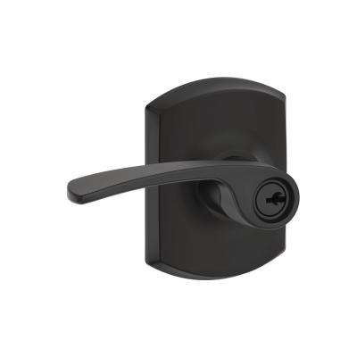 Merano Matte Black Keyed Entry Door Lever with Greenwich Trim