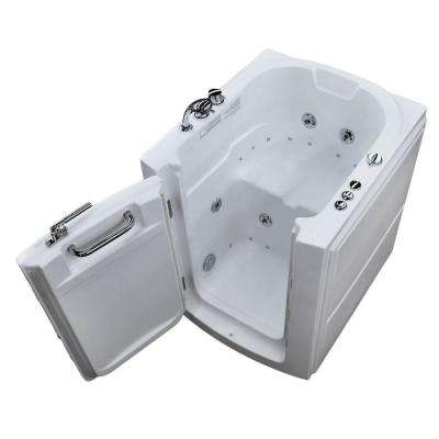 3.2 ft. Left Door Walk-In Whirlpool and Air Bath Tub in White