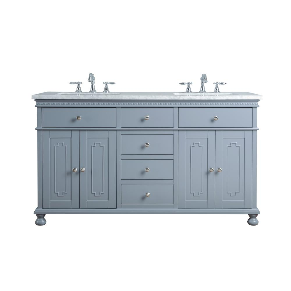Stufurhome Embellished Double Sink Vanity Grey Marble Vanity Top White Basin