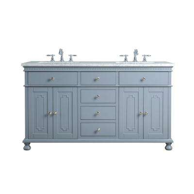 60 in. Abigail Embellished Double Sink Vanity in Grey with Marble Vanity Top in Carrara with White Basin