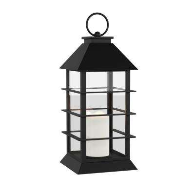 Modern Warm White Grid-Style Lantern and Flameless Candle