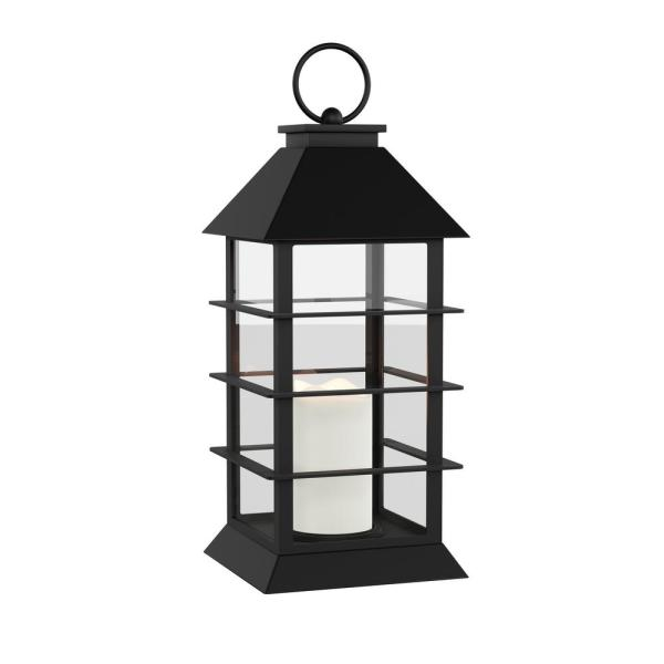 Lavish Home Modern Warm White Grid-Style Lantern and Flameless Candle HW1000018