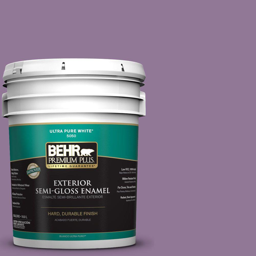 BEHR Premium Plus 5-gal. #M100-5 Passion Fruit Semi-Gloss Enamel Exterior Paint