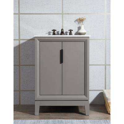 Elizabeth Collection 24 in. Bath Vanity in Cashmere Grey With Vanity Top in Carrara White Marble - Vanity Only