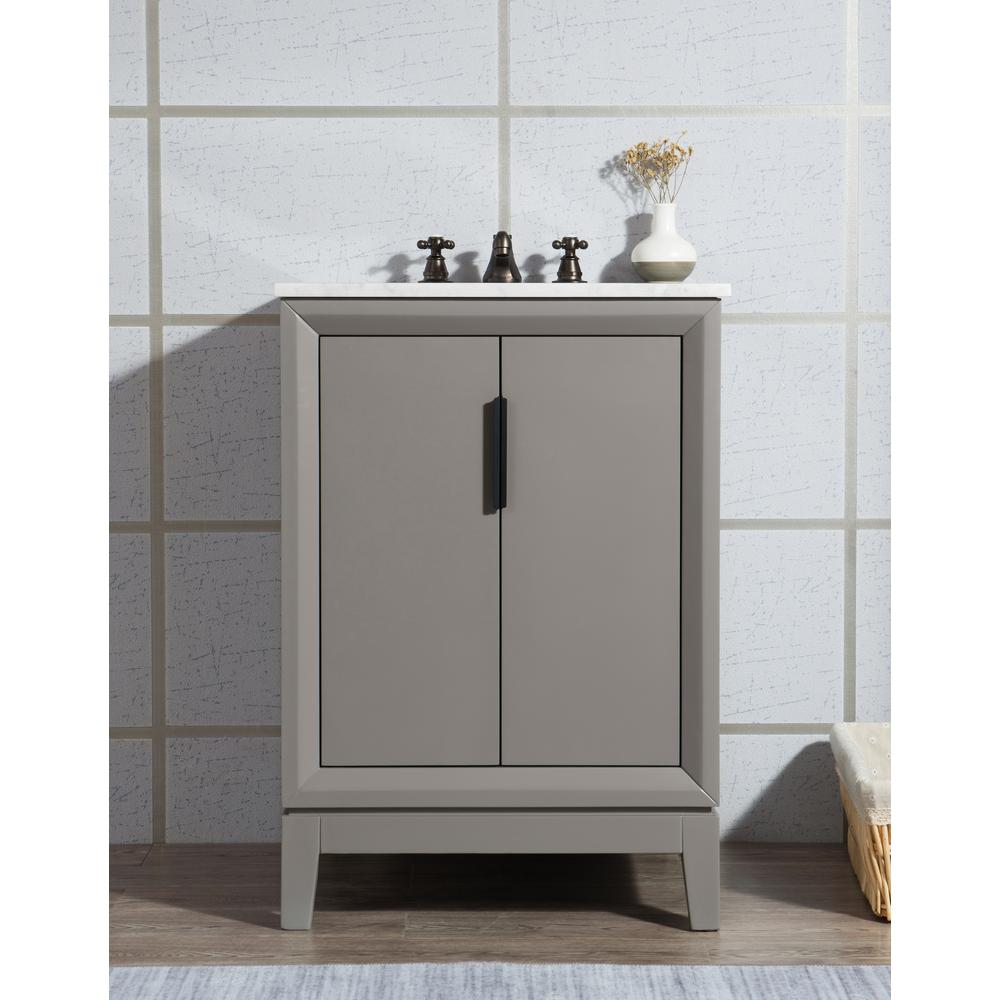 Water Creation Elizabeth Collection 24 in. Bath Vanity in Cashmere Grey With Vanity Top in Carrara White Marble - With Mirror(s)