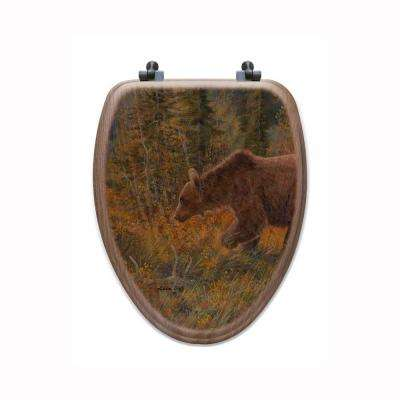 The Grizzly Walk Elongated Closed Front Wood Toilet Seat in Oak Brown