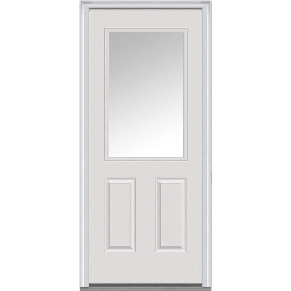 30 in. x 80 in. Clear Glass Left-Hand 1/2 Lite 2-Panel