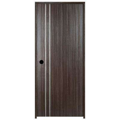 24 in. x 80 in. Grey Oak V2 Finished Left-Hand With 2 Metal Stripes Solid Core Composite Single Prehung Interior Door