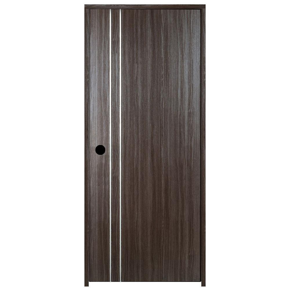 30 in. x 80 in. V2 Grey Oak Left-Handed with 2 Metal Stripes Solid Core Composite Single Prehung Interior Door