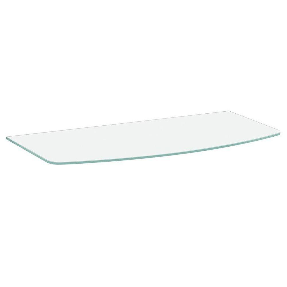 Dolle 31-1/2 in. x 10 in. x 12 in. x 5/16 in. Convex Glass Line Shelf in Frosted