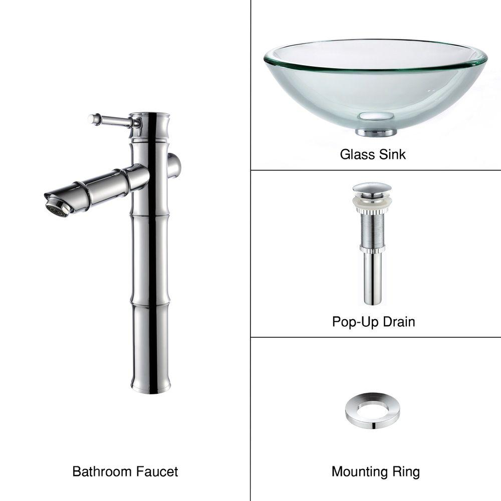 KRAUS 19mm thick Glass Bathroom Sink in Clear with Single Hole 1-Handle Low Arc Bamboo Faucet in Chrome-DISCONTINUED