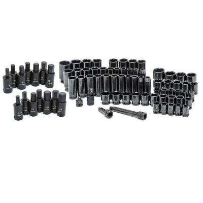 1/2 in. Drive Master Impact and Hex Bit Socket Set (78-Piece)