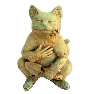 Cast Stone Gardening Cat Statue - Weathered Bronze