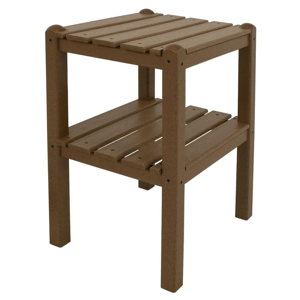 Polywood Teak 2 Shelf Patio Side Table Twstte The Home Depot