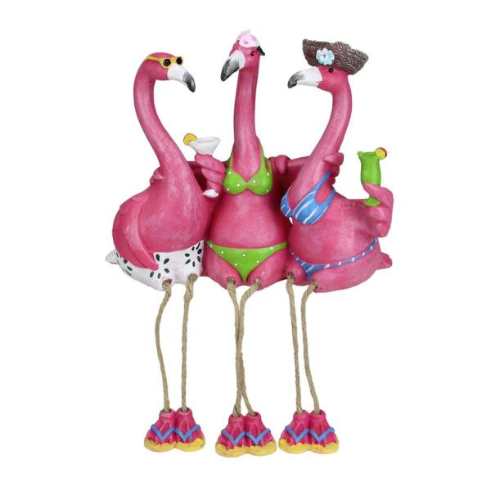 13 in. The Three Amigos Flamingo Outdoor Garden Statue