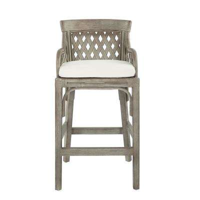 Plantation Grey Bar Stool with Wood Rattan Frame