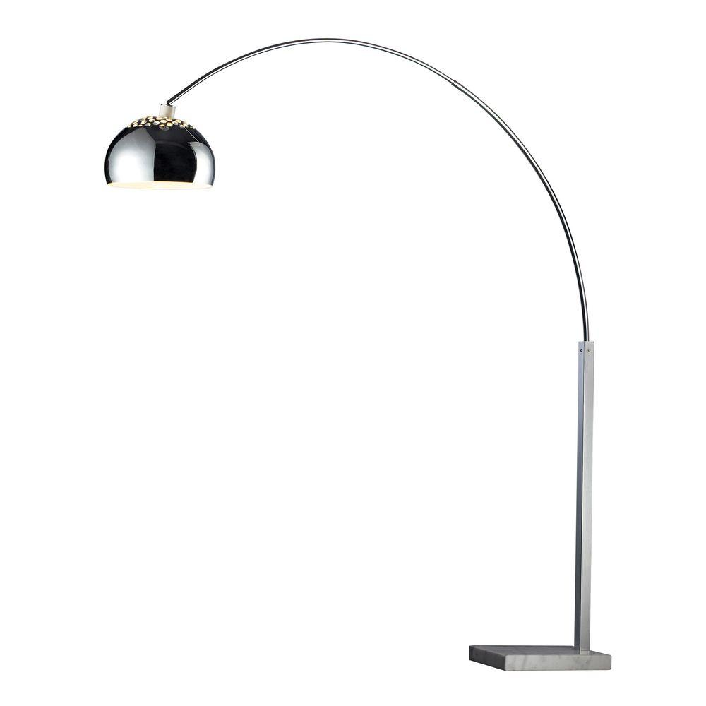 Titan Lighting Penbrook Arc 70 in. Chrome Floor Lamp with White ...