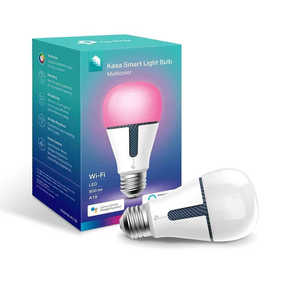TP-LINK 60-Watt Equivalent E26 Dimmable Kasa Smart Wi-Fi LED Light Bulb by Multicolor Light White (1-Bulb)